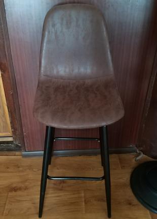 Барный стул мягкий НУБУК Н, коричневый