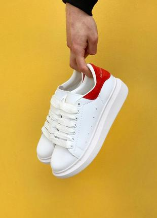 Alexander mcqueen oversized sneakers white red 🆕 женские кросс...