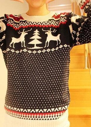 Мужской синий свитер с оленями (новогодний, легкий свитер, кофта)