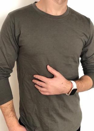 Легкая кофта мужская хаки, с рукавами, удлиненная