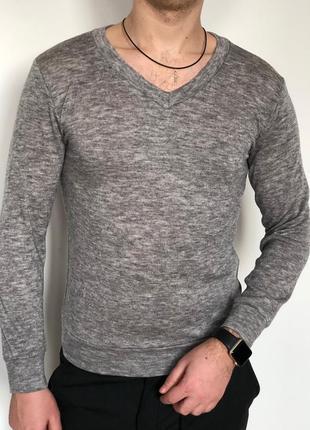 Мужской легкий свитер - кофта - реглан с вырезом серая (мужская)