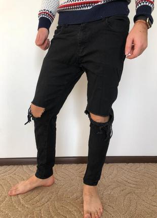 Мужские джинсы с рваными коленями, черные узкие штаны для мужчины