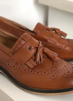 Коричневые натуральные лоферы, броги - мужские туфли
