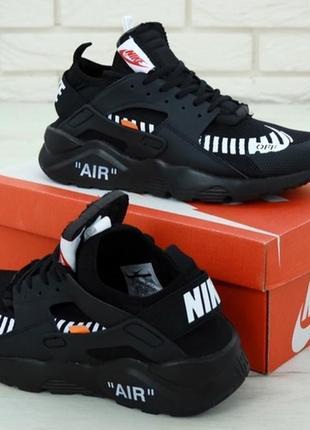 Мужские демисезонные кроссовки nike air huarache off-white black.