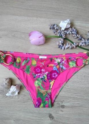 Ярко розовые женские плавки h&m /м/низ купальника/принт цветы ...
