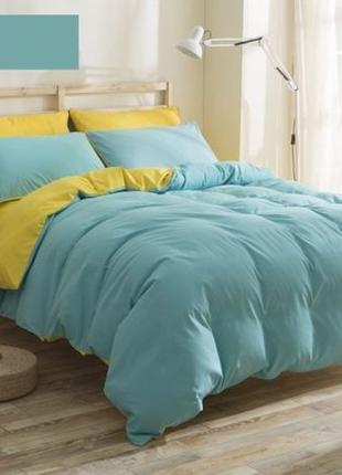 Красивое постельное белье семейное бирюзовое (набор, комплект,...