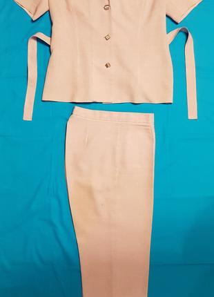 Женский брючный костюм двойка, - жакет, брюки, розовый