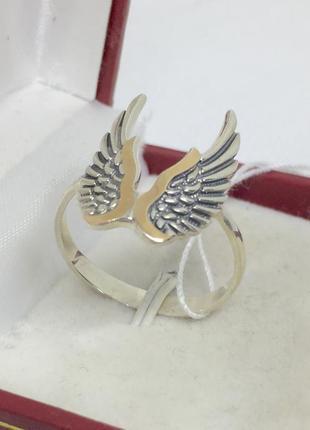 Новое серебряное кольцо зол.пластины чернение серебро 925 пробы