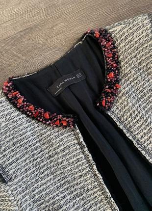 Красивый жакет, пиджак Zara под твид, р. XS