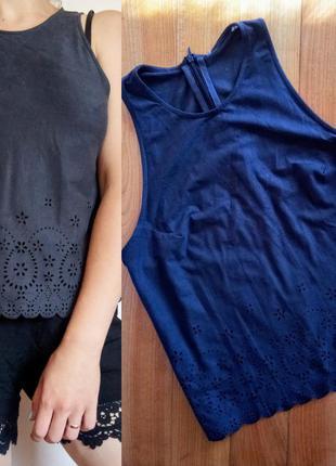 Блуза замша/ майка/ футболка/ топ/ с кружевом/ ажурная
