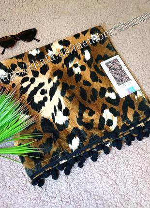 """Пляжное полотенце """"леопард"""" с помпонами primark испания в пода..."""