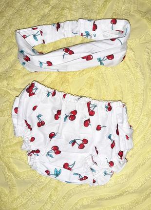 Комплект на лето   блумеры+  повязка/косынка  2-6 м для девочки