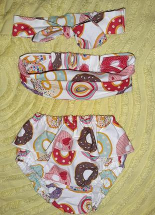 Комплект на лето   блумеры+ солоха+косынка  2-6 м для девочки