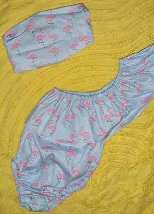 Летний набор  боди+повязка-косынка для девочки 2-6 м