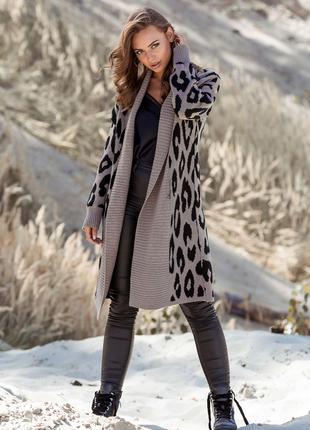 Вязаное пальто с леопардовым принтом «Лео»