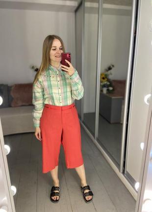 Актуальные летние льняные брюки капри бриджи №438
