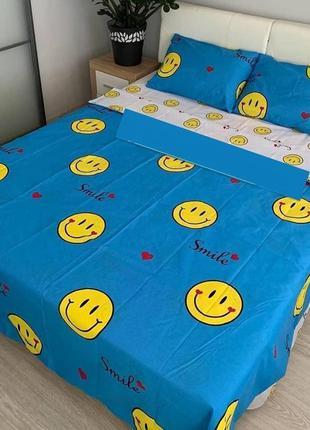 Полуторный комплект постельного белья смайлик