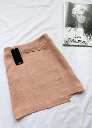 Юбка, юбочка, розовая, рожева, мини, міні, з гудзиками, с пуго...