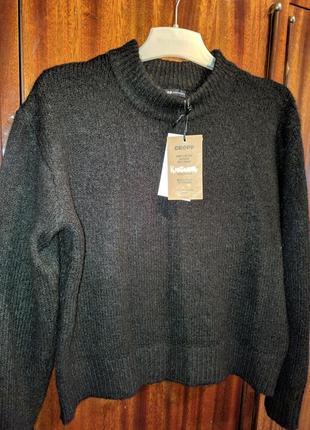 Новый женский вязанный чёрный тёплый свитер кофта cropp