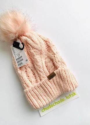 Шапка hm для девочки на зиму, шапка  с помпоном