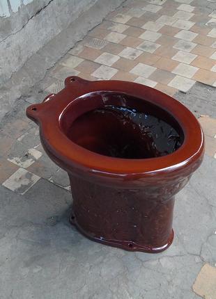 Унитаз дачный коричневый без гидрозатвора Флора (Пенек)