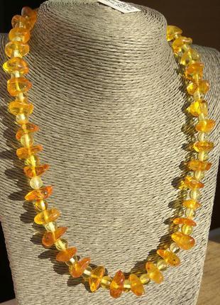 Оригинальное янтарное ожерелье, бусы из натурального янтаря