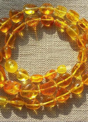 Эксклюзивные янтарные бусы из натурального полированного янтаря