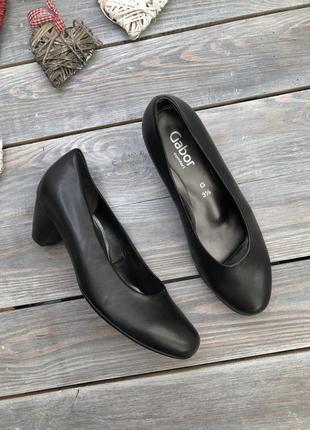 Gabor кожаные эллегантные туфли офисного стиля базовые