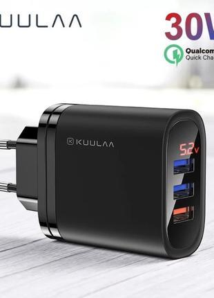 KUULAA 30Вт зарядное устройство, блок ЗУ Quick Charge 3.0 с диспл