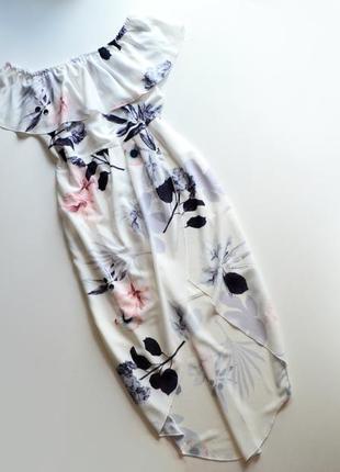 Стильное платье миди в цветы на запах