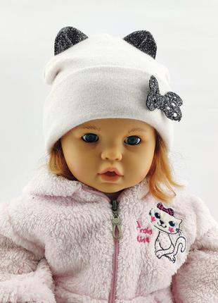 Шапки 48 по 52 размер детская с ушками головные уборы детские