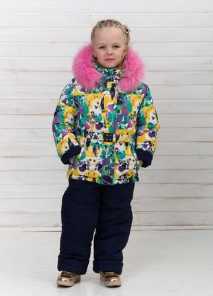 Детский полукомбинезон + зимняя куртка для девочки
