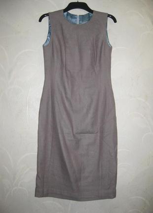 Платье футляр серое строгое деловое офис шерсть
