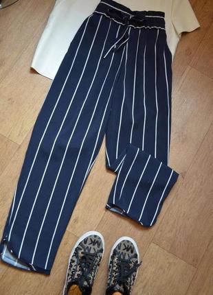 Zara синие кюлоты брюки штаны в полоску полосатые стильные лег...