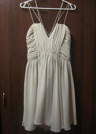 Платье h&m бежевое молочное белое на бретельках