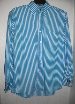 Рубашка в полоску белая голубая claude vigo коттон