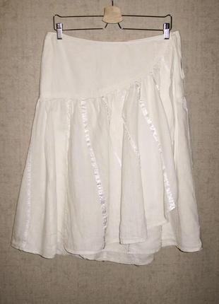 Фабричная льняная юбка на запах турецкого бренда d.e.p.t. sunn...