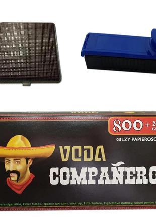 Гильзы для набивки сигарет Companeros 1000 штук, Машинка для заби