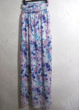 Длинное платье макси голубое сиреневое цветы разноцветное