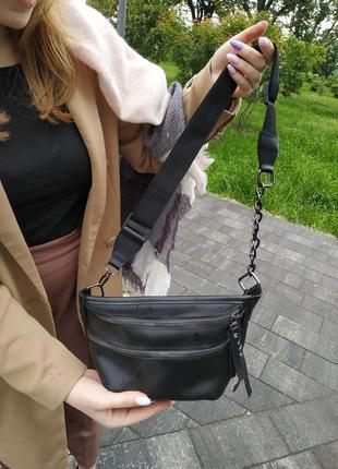 Удобная черная поясная сумка, бананка