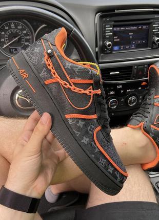 Nike air force 1 low black orange x louis vuitton