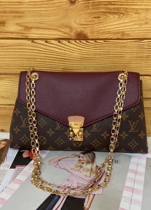 Женская сумка клатч на цепочке Louis Vuitton жіноча на и через