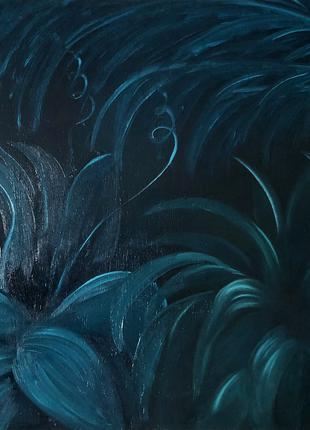 """Картина маслом на дереве """"Ночь в джунглях"""" 50х50 см"""