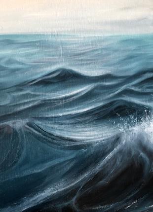 """Картина интерьерная маслом на дереве """"Прогулка на лодке"""" 50x50"""