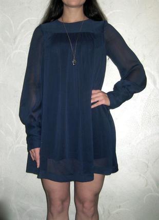 Платье короткое h&m с длинным полупрозрачным рукавом синее шифон
