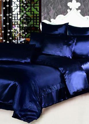 """Атласное постельное белье темно-синее """"темная ночь"""" евро разме..."""