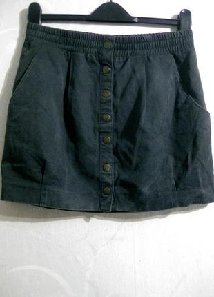 Мини юбка h&m пуговицы тёмная серая короткая