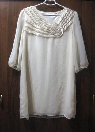 Очень нежное и элегантное платье vila молочный белый цвет четв...