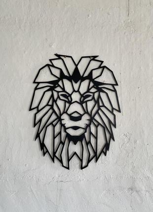"""Декоративная полигональная картина из дерева """"Голова льва"""""""