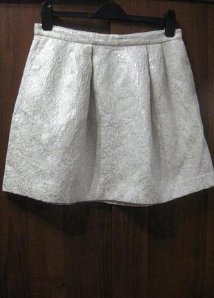 Юбка h&m белая жаккард фактурная блестящая люрекс мини короткая